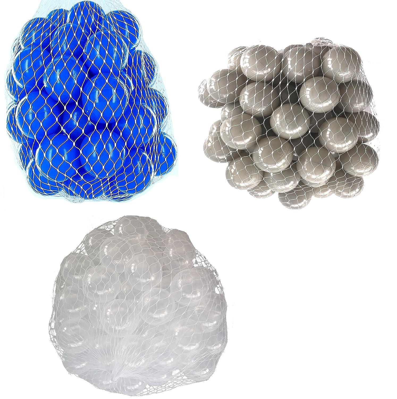 900 Bälle für Bällebad gemischt mix mit transparent, grau und blau