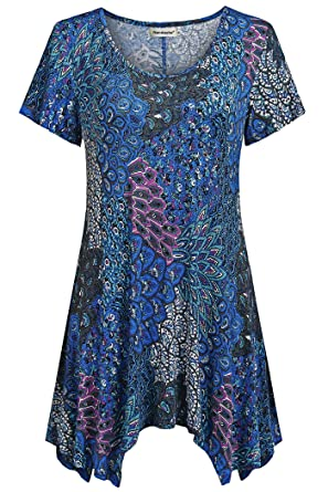 94a46b7715 Nandashe Aqua Short Sleeve Shirt Women, Young Girls Trendy Cute Floral  Printed Cowl Neck Casual