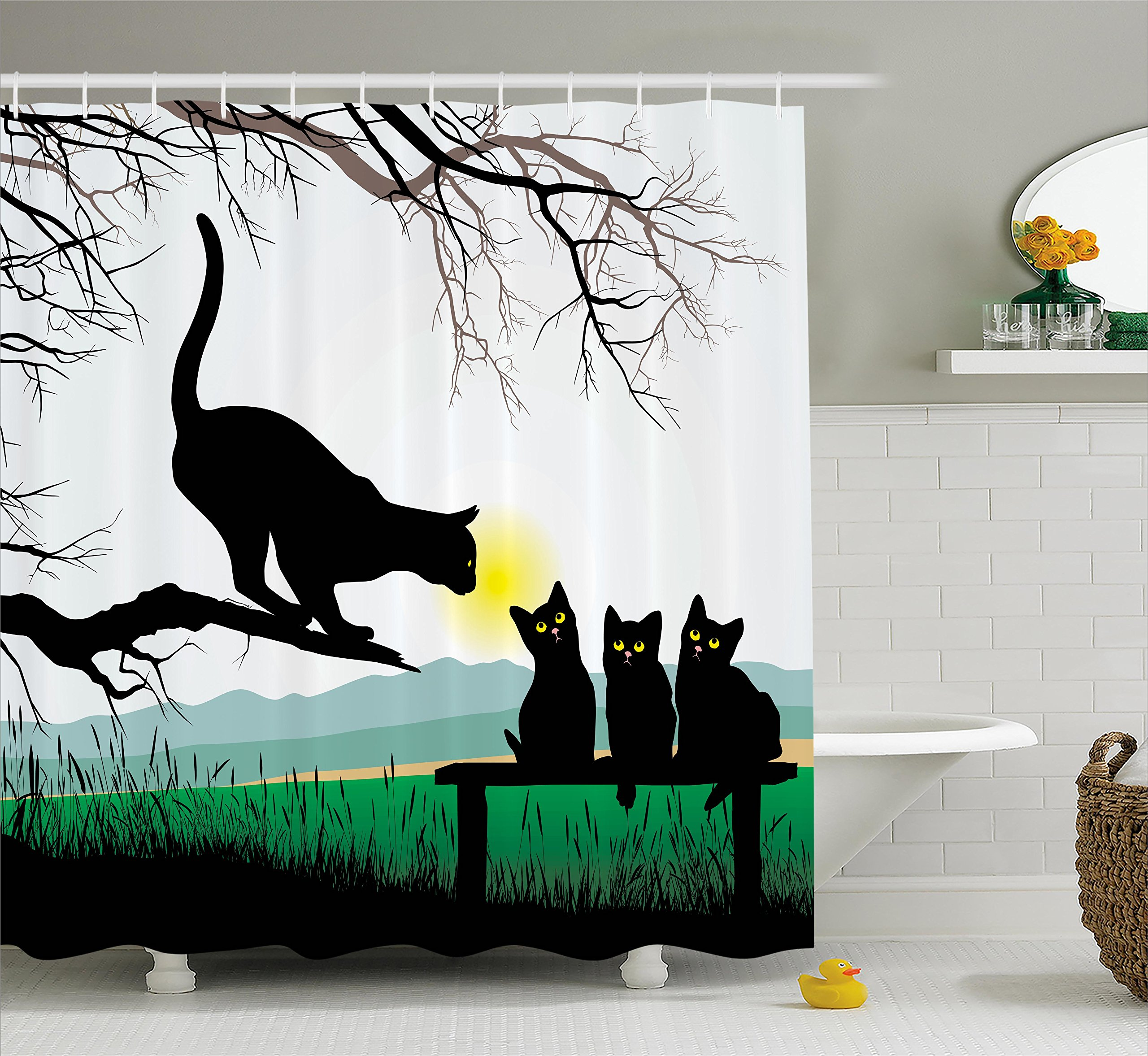 Ambesonne Cat Shower Curtain, Mother Cat on Tree Branch and Baby Kittens in Park Best Friends I Love My Kitty Graphic, Fabric Bathroom Decor Set with Hooks, 75 inches Long, Multi