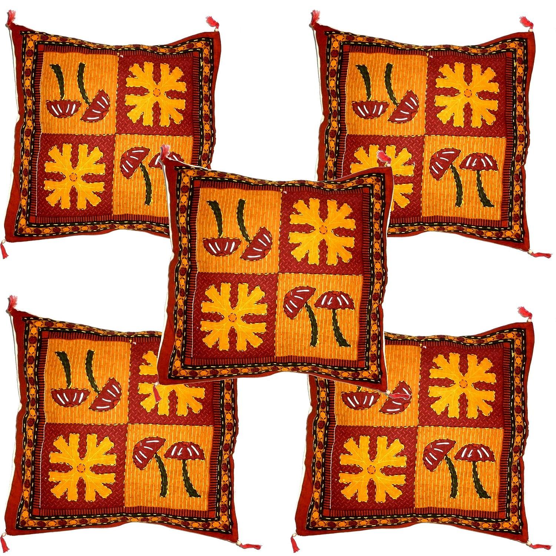 Amazon.com: 5 Pieces Set Kantha Work Throw Pillow Covers ...