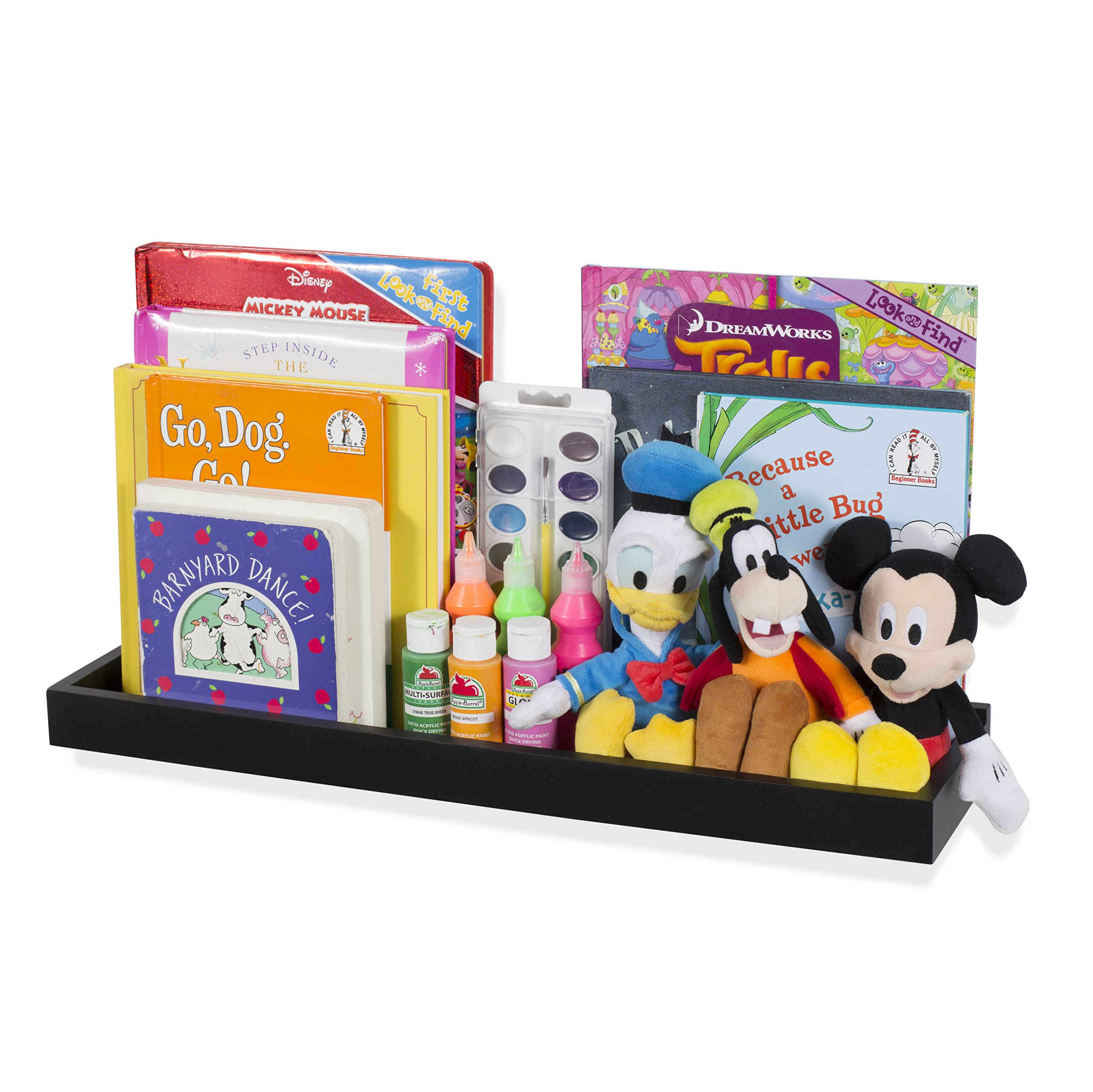 Wallniture Philly Nursery Baby Bookshelf Tray - Picture Ledge - Wall Mount Floating Book Shelves for Kids Room - Organizer Storage Display 23.75 Inch (Black)