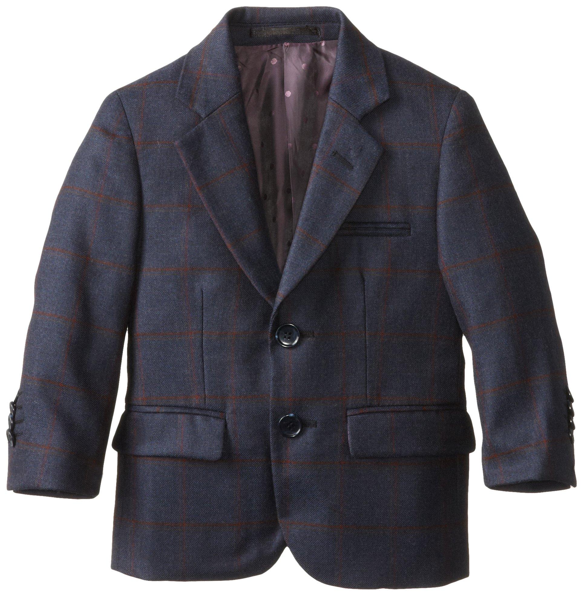 Isaac Mizrahi Black Label Little Boys' Little Pure Wool Plaid Blazer, Blue, 5