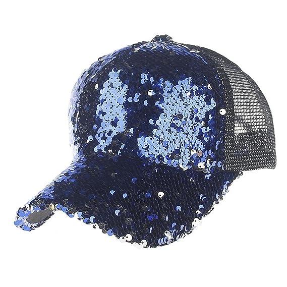 INTERNET Gorras Unisex de Malla de Lentejuelas Hombres de Las Mujeres de Moda Gorra de béisbol (Azul): Amazon.es: Ropa y accesorios