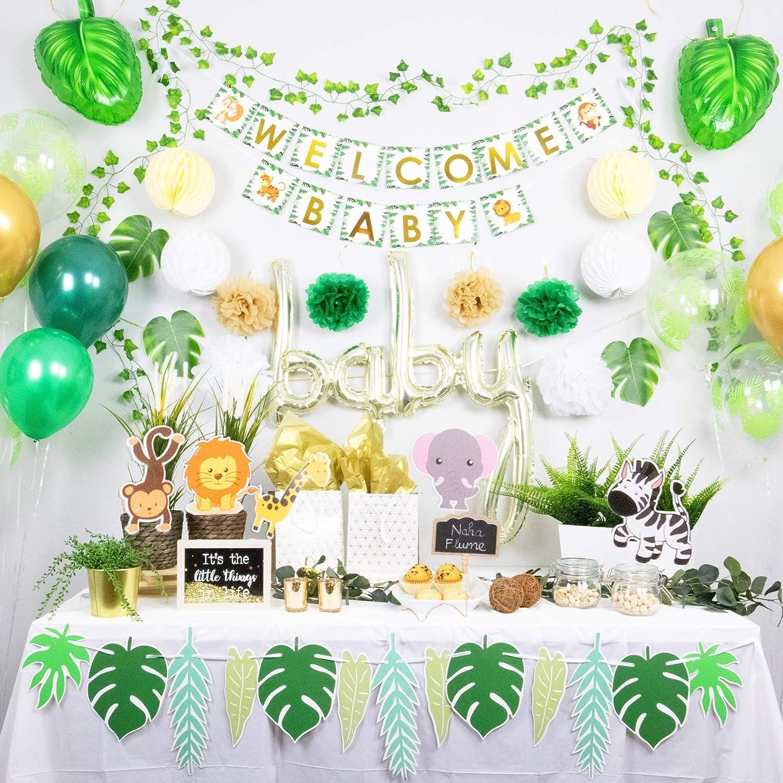 NAHA FLUME Safari Baby Shower Decorations for Boy | 60pc Set Jungle Theme Baby Shower Decorations Gender Neutral | Gold Oh Baby Decorations for Baby Shower Decor | Greenery Baby Shower Welcome Banner