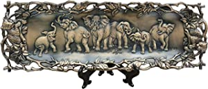 ACCURATECH Art Decoration Aluminum Alloy Decorative Plate Display Serving Tray Reusable Antique Bronze Finish with Elephant Pattern for Food, Party, Exhibition, Collection