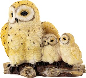 Top Collection Adorable Spotted Owl Family Mini Statue- Hand Painted Mother and Babies Owls Sculpture Sitting on Branch - 2.25-Inch Collectible Cute Furry Animal Figurine
