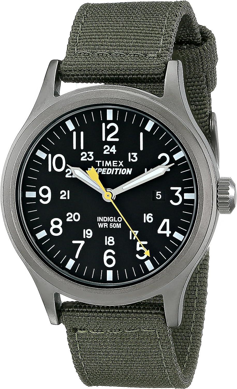 Timex Expedition - Reloj análogico de cuarzo con correa de nailon para hombre, Verde (Verde/Negro)