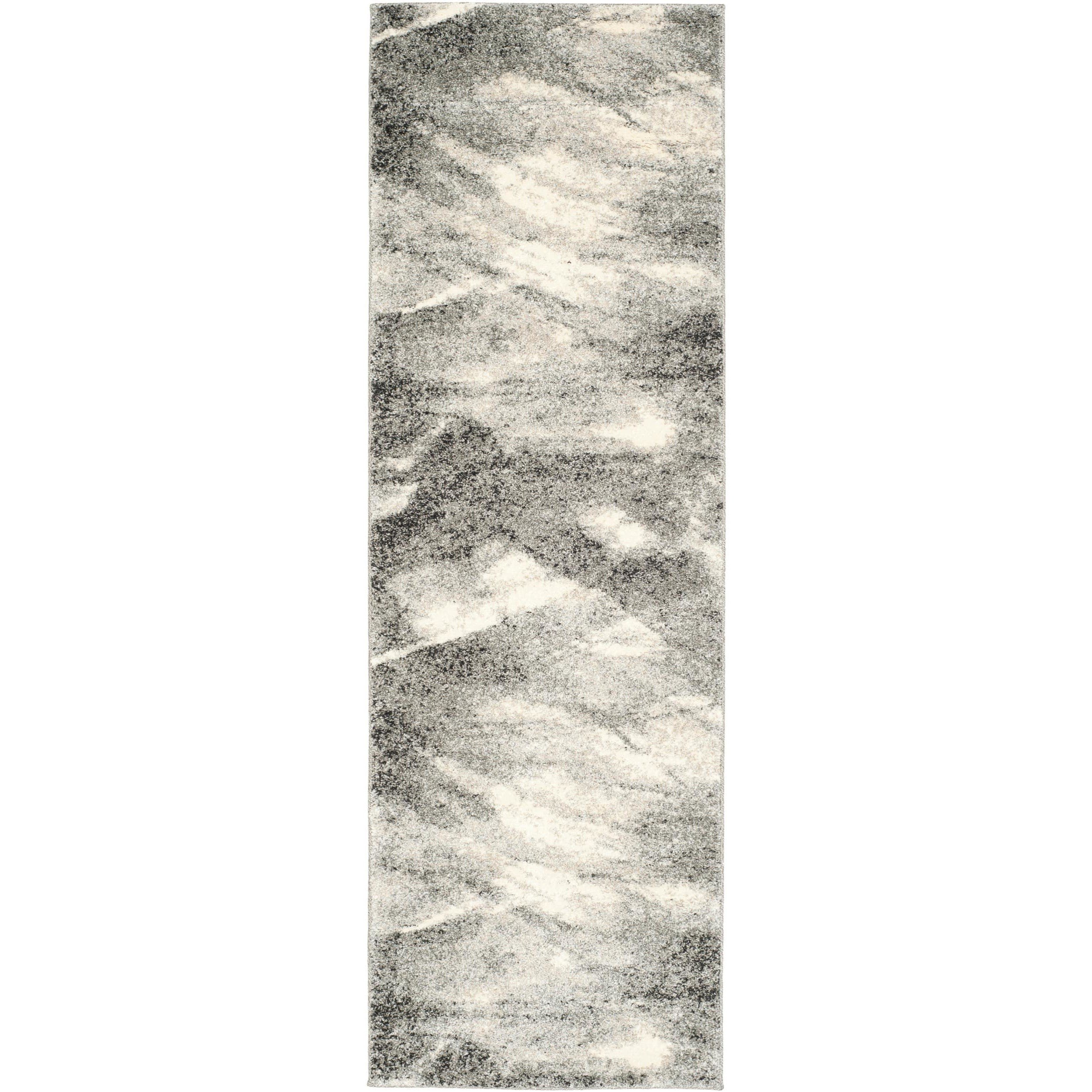un 2'3 x 9' Vintage Novelty Mid Century Plush Motif Patterned Abstract Grey Ivory Multi Color Runner Rug, Soft Polypropylene Fancy Country Northern, Rectangle Living Room Kitchen Accent Carpet