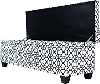 """product image for MJL Furniture Designs Large Upholstered Storage Button Tufted Ottoman, 54"""" x 18"""" x 20"""", Black"""