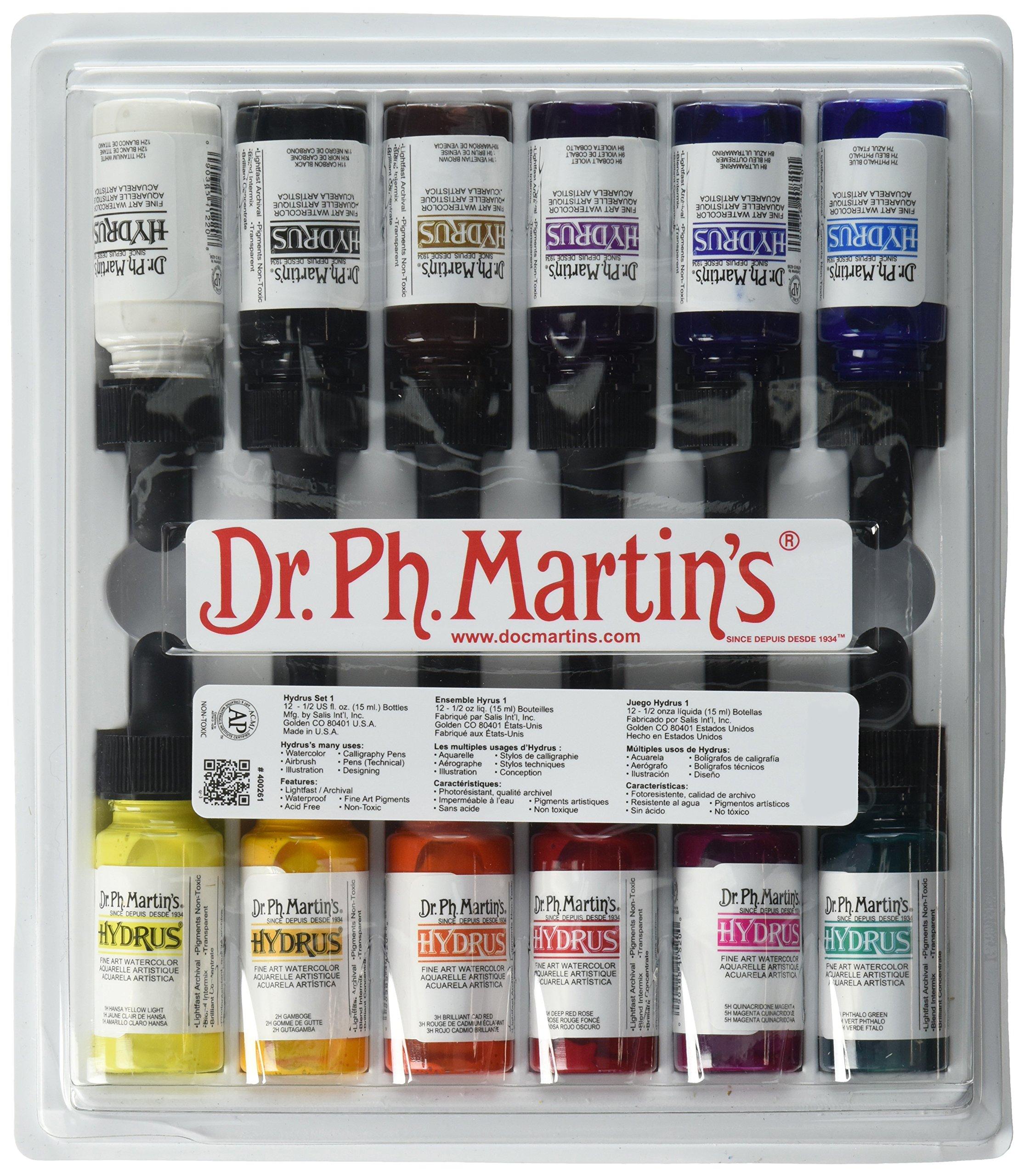 Dr. Ph. Martin's 400261-XXX Hydrus Fine Art Watercolor Bottles, 0.5 oz, Set of 12 (Set 1)