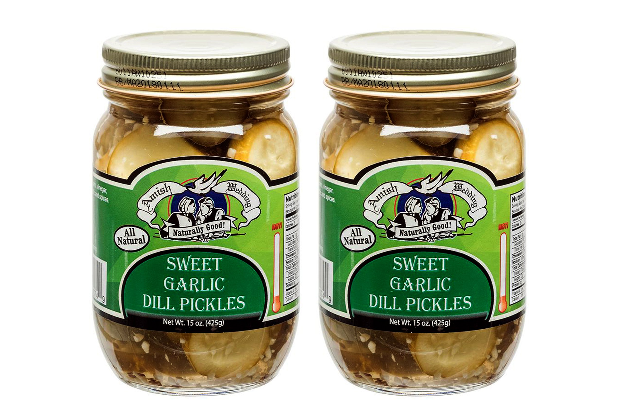 Amish Wedding Foods Sweet Garlic Dill Pickles 2 - 15 Oz Glass Quarts All Natural