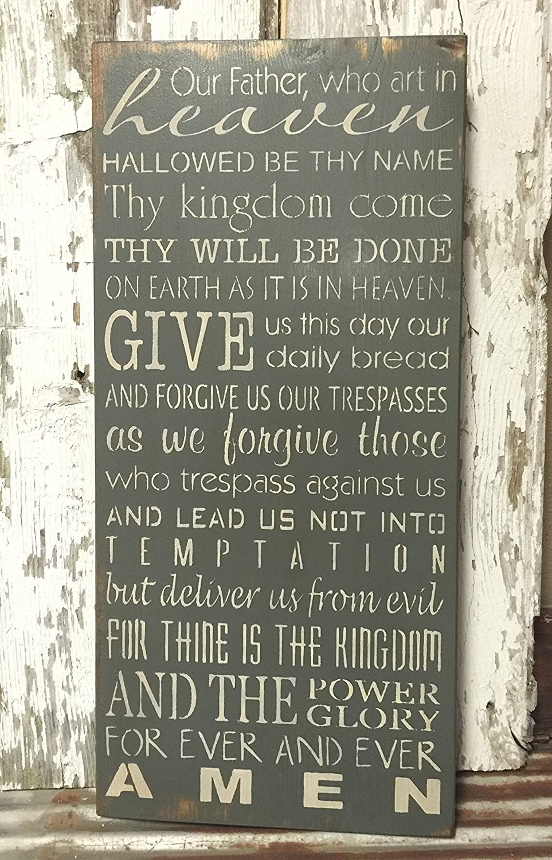 amazon com rustic wood sign featuring the lord u0027s prayer handmade