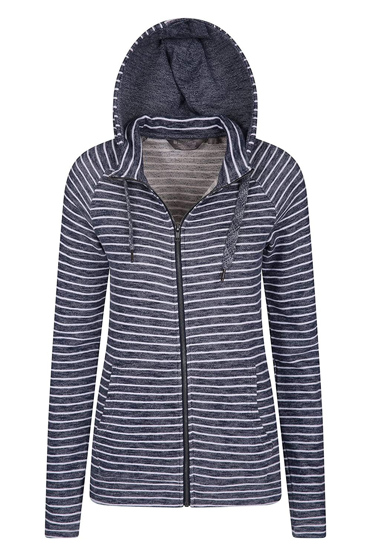 Adjustable Hood Mountain Warehouse Woolamai Womens Full-Zip Hoodie -Antipill High Neck Ladies Jacket Easy Care Summer Coat -for Spring Travelling Breathable Walking