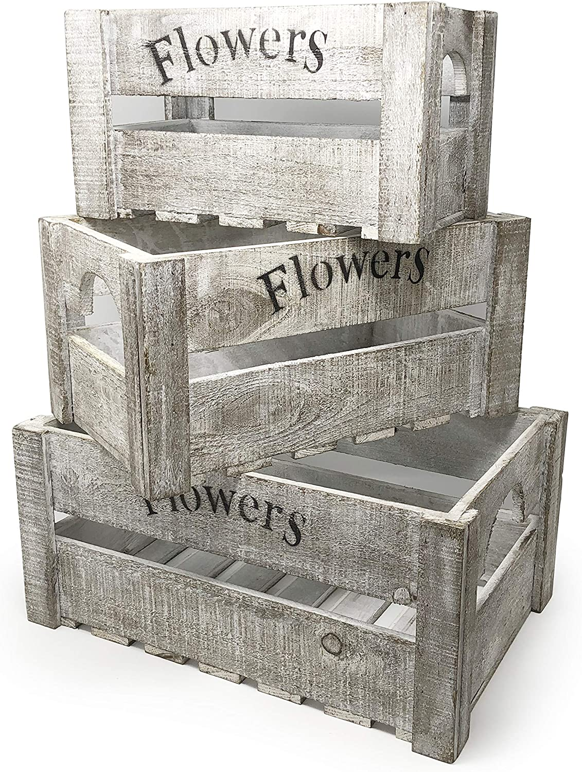allgala 3-PC Set Wooden Boxes Planter Trough for Flower pots - Indoor Outdoor Decoration - Storage Display Boxes