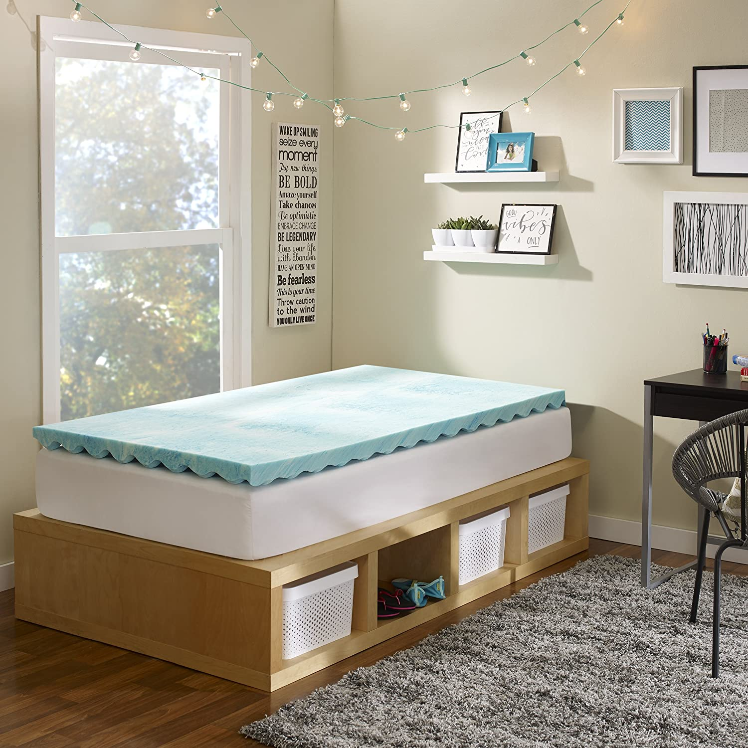 Made in the USA with a 5-Year Warranty Twin XL Size Sleep Innovations 2.5-inch Reversible Gel Memory Foam Mattress Topper with Air Channels