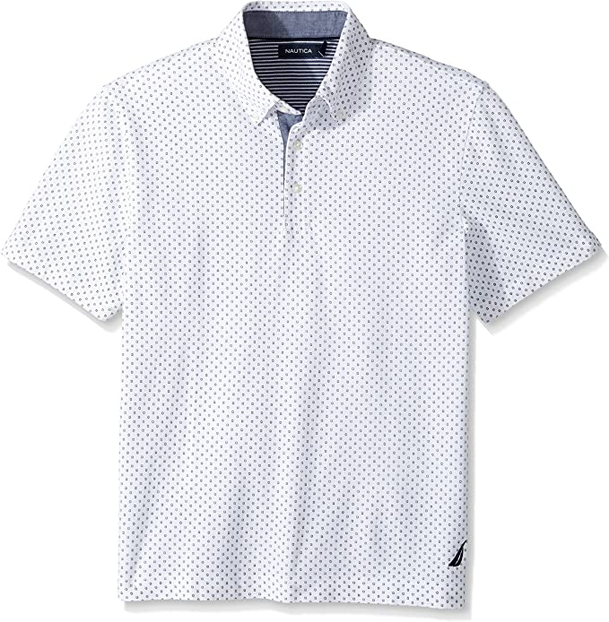 Nautica Hombres Short Sleeve Classic Fit Printed Pique Polo Shirt ...