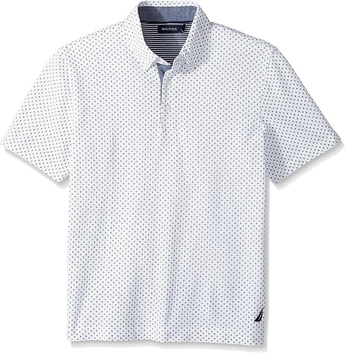 Nautica Hombres Short Sleeve Classic Fit Printed Pique Polo Shirt ...