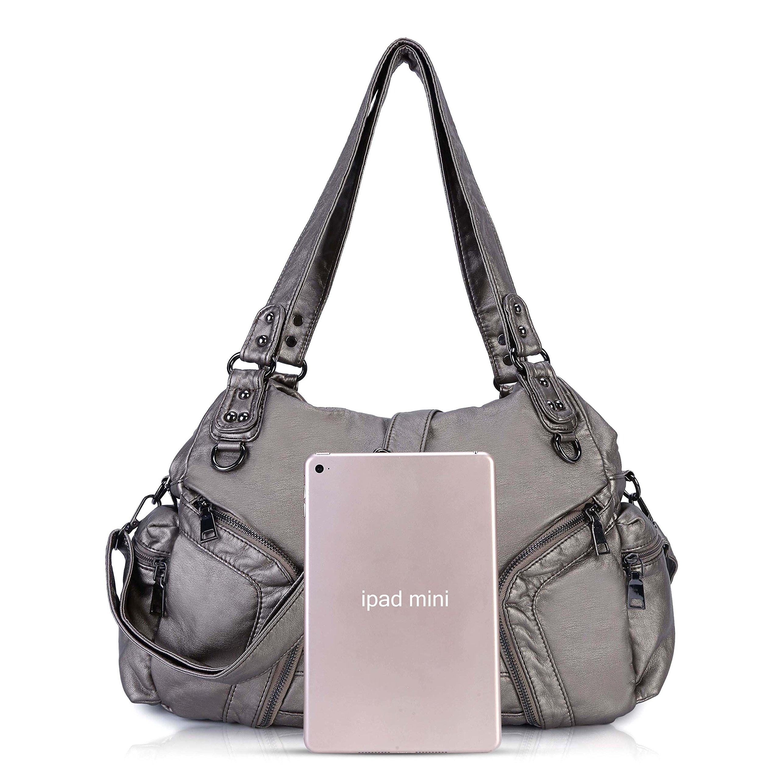 Women Handbag Soft Leather Purse Large Capacity Tote Bag Crossbody Shoulder Bag for Ladies (#SILVER)
