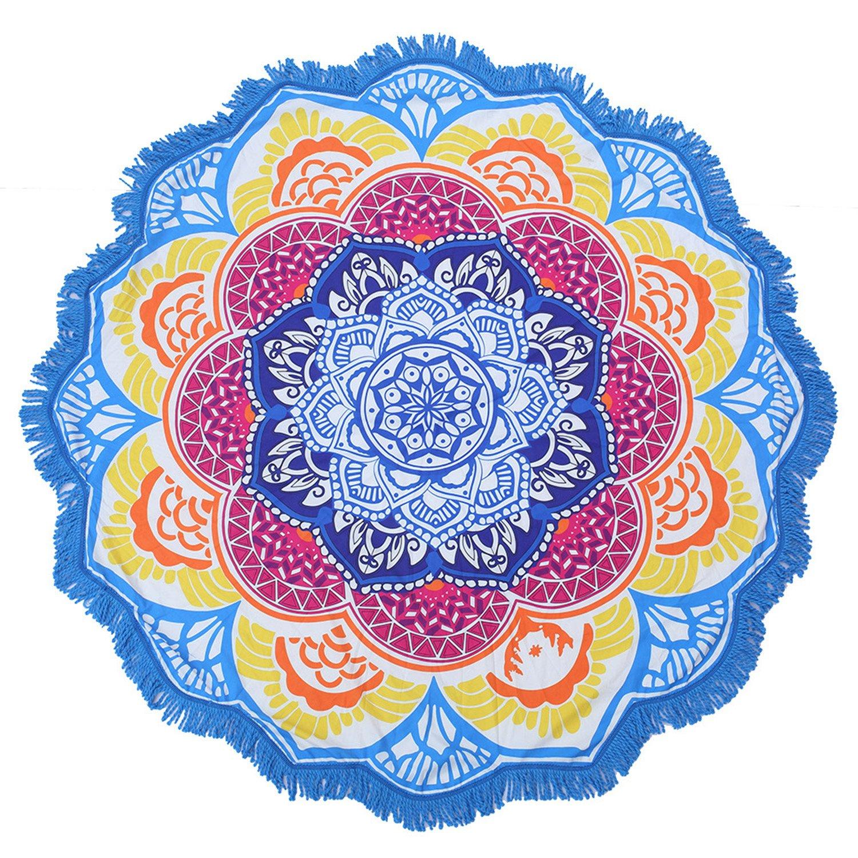 Large Round Lotus Flower Mandala Tapestry Beach Towel & Blanket Table Cloth Fringe Tassel Beach Blanket Yoga Mat (Blue-2)