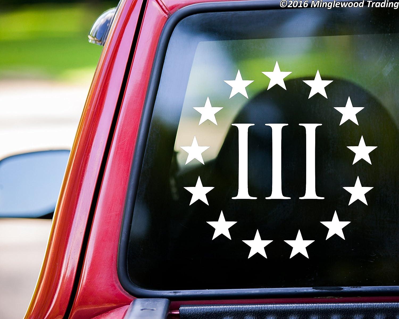 Three Percent 3/% 3 Percent Vinyl Decal Car Truck Window Sticker  Oathkeeper