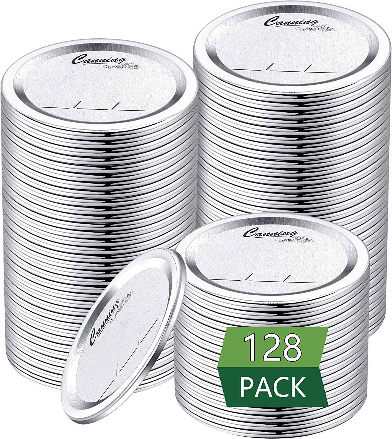 128-Count, Regular Mouth Canning Lids for Ball, Kerr Jars - Split-Type Metal Mason Jar Lids for Canning - Food Grade Material, 100% Fit & Airtight for Regular Mouth Jars
