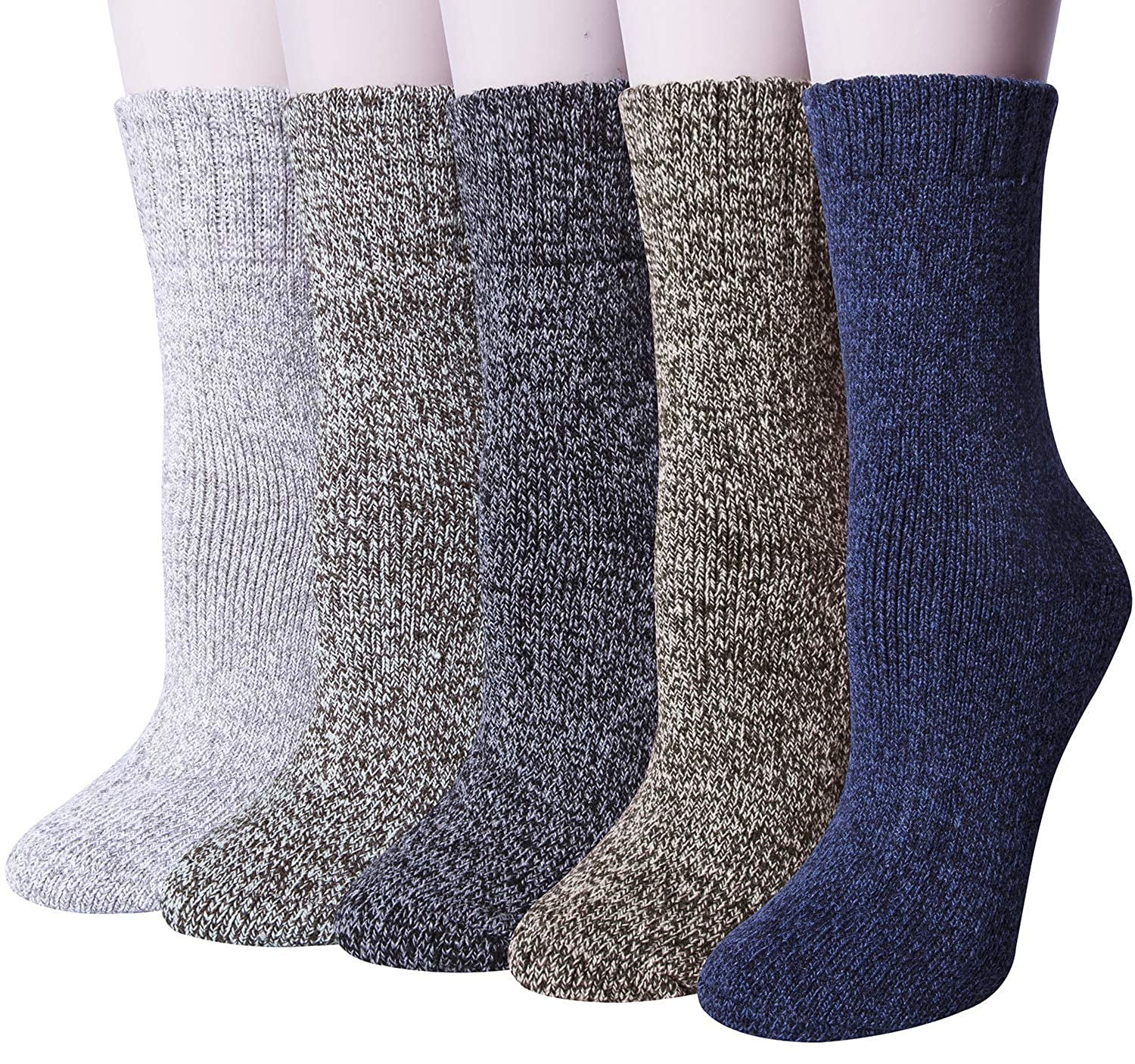 [UPGRADED]5 Pairs Womens Winter Super Soft Thick Warm Wool Knitting Casual Crew Socks 28-WS-1
