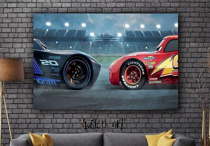 Amazon.com: Cars 3 Disney Movie Framed Canvas Art Print - Movie ...