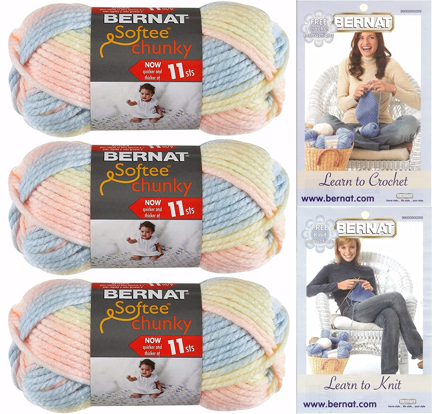 Amazon.com: Bernat Softee Chunky Yarn Bundle Super Bulky #6, 3 ...