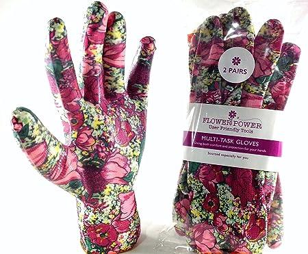 best garden gloves. 2 Pairs Ladies Gardening Gloves (Medium, Rose Garden Floral) - Lightweight And Durable Best