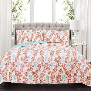Lush Decor Dina Quilt Set, King, Blue/Coral