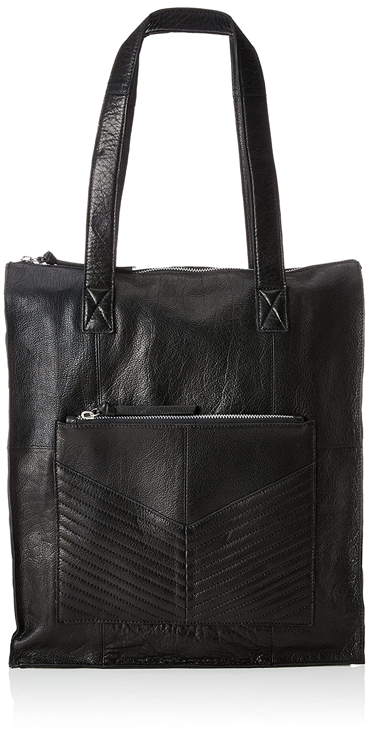 Pieces Pcdiana Leather Shopper, Sacs portés épaule femme, (Black), 12x40x30 cm (B x H T)