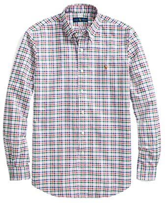 e149d7edc Polo Ralph Lauren Men s Long Sleeve Button Down Oxford Shirt  PinkCherryMulti - L at Amazon Men s Clothing store