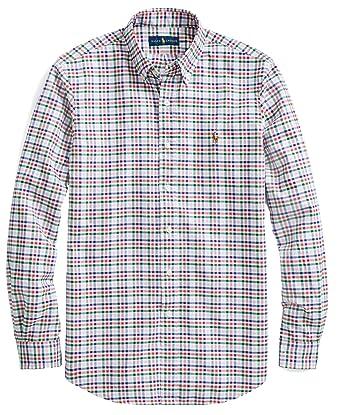 562c0b52 Polo Ralph Lauren Men's Long Sleeve Button Down Oxford Shirt  PinkCherryMulti - L at Amazon Men's Clothing store: