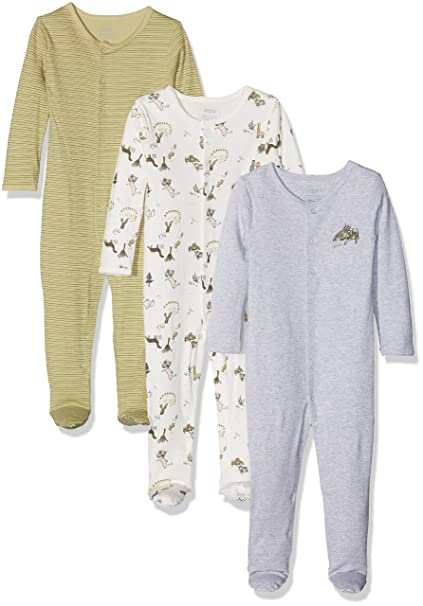 Mamas & Papas Pack of 3 Dino Sleepsuits, Pelele para Bebés, Verde, 12