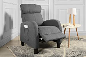 Living Room Slim Manual Recliner Chair (Dark Grey)