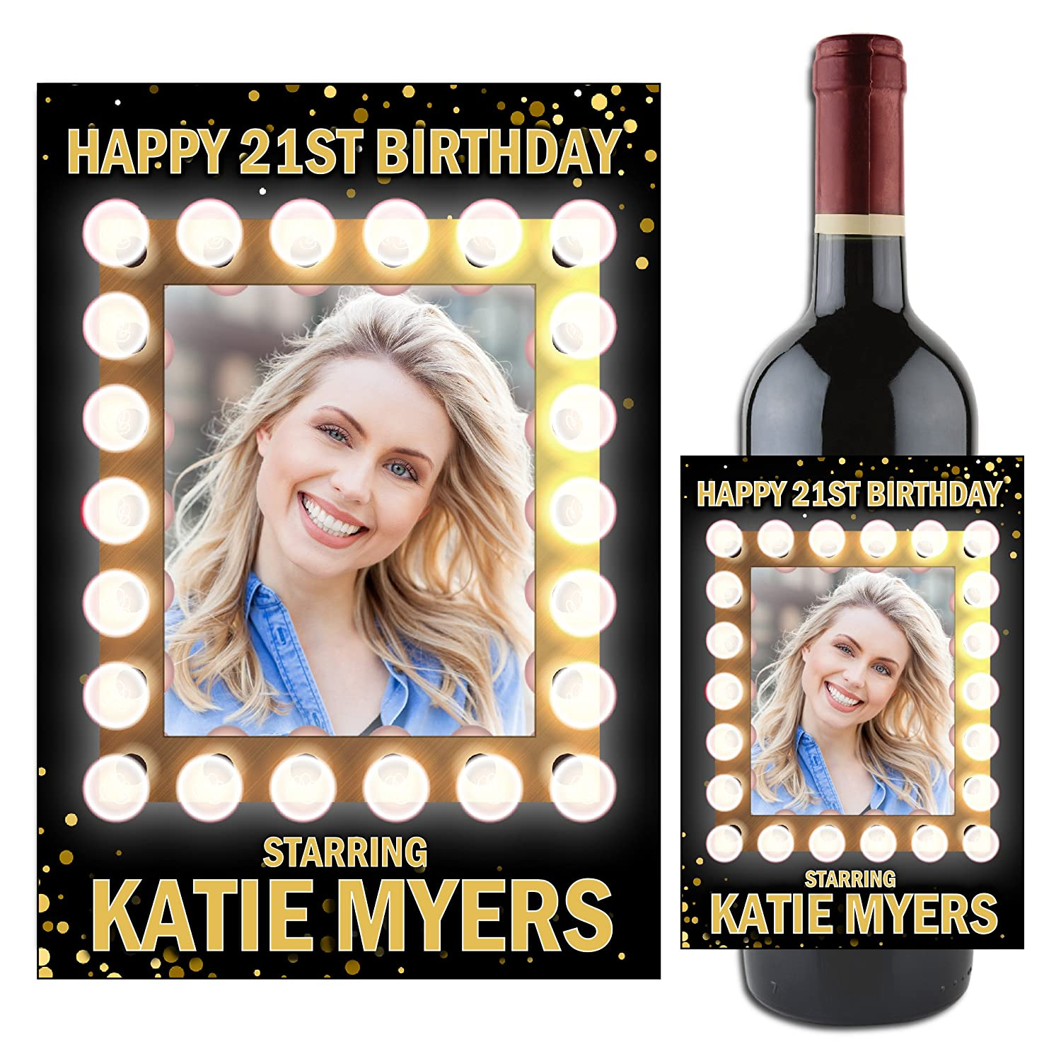 any age 18th 21st 40th 60th etc Personalised HAPPY BIRTHDAY Champagne Label