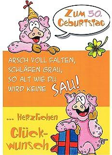 Grußkarte 50 Geburtstag Karte Humor Applikation Scheckkarte