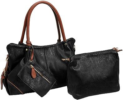 c1ebb14eb29b Amazon.com: Kenoor PU Leather Shoulder Handbag Tote Bag Satchel ...