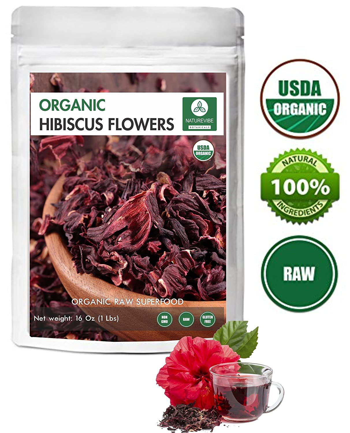 Amazon organic hibiscus flowers 16oz resealable bag indian amazon organic hibiscus flowers 16oz resealable bag indian origin by naturevibe botanicals packaging may vary grocery gourmet food izmirmasajfo