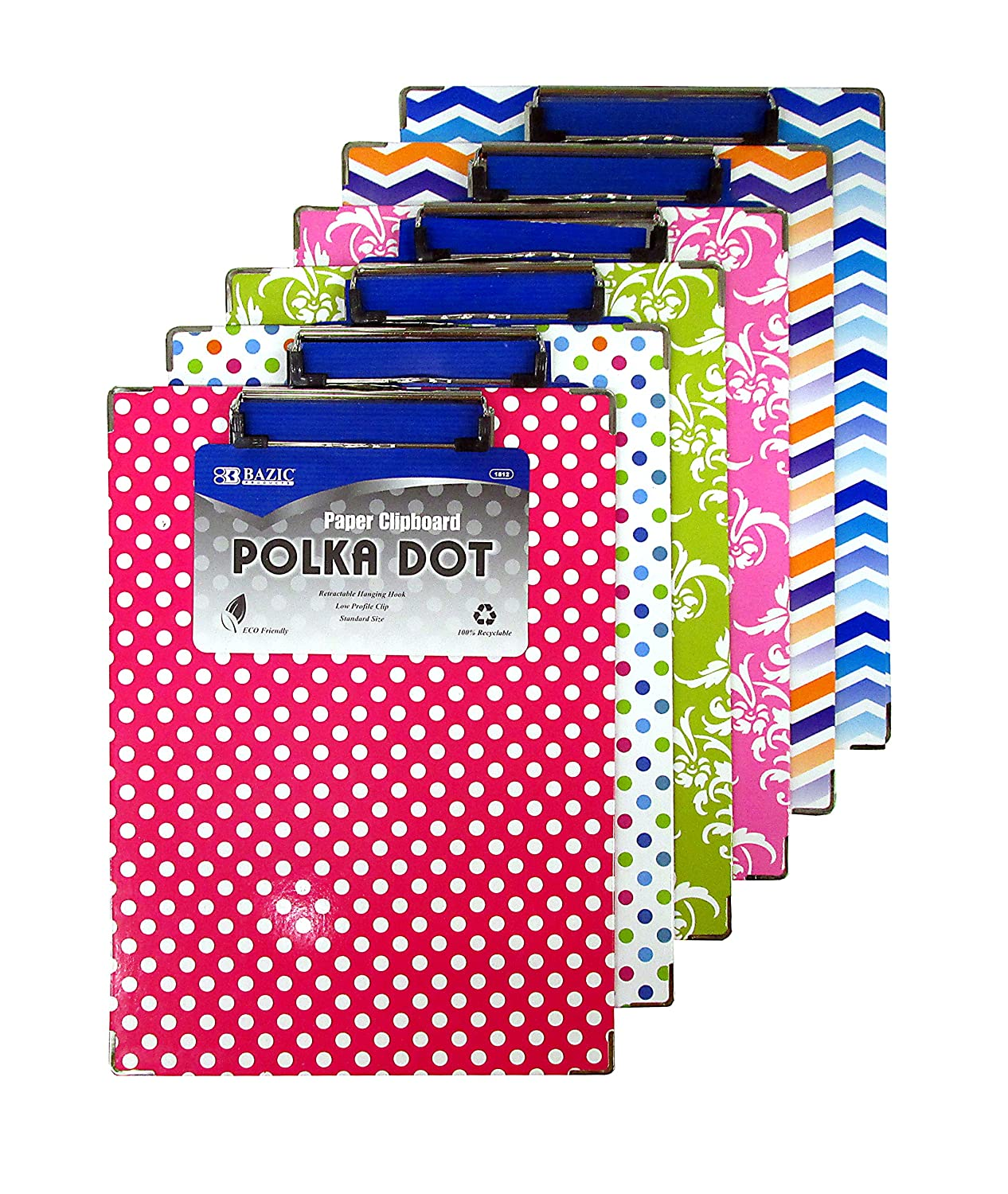 6 Pk, BAZIC Standard Size Polka Dot Paperboard Clipboard w/Low Profile Clip (Colors May Vary) 1812