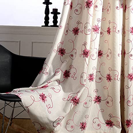 Rosy Red Flower Decro Curtains