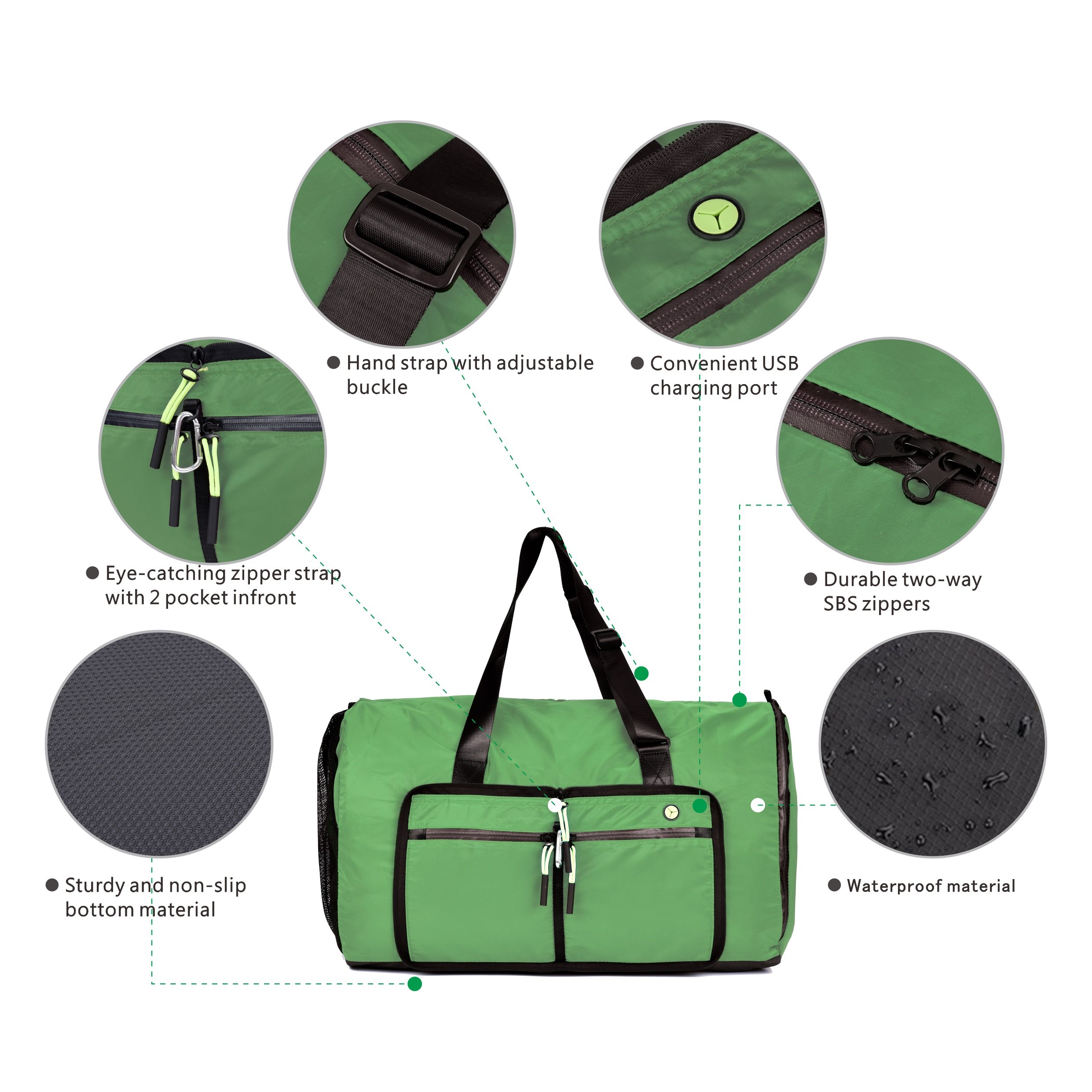 Msicyness Travel Duffel Bag 70L Overnight Bag Large Sports Duffle Gym Tote for Men and Women Waterproof Carry on Weekender Bags with Shoe Compartment-Green