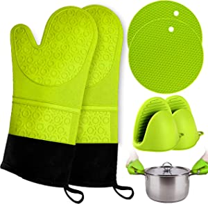Oven Mitts and Pot Holder- Extra Long Silicone Oven Mitt Heat Resistant 500°F with bonus 2 trivets & Mini Pinch Oven Mitts (250°F)-Food Safe Baking Gloves for Cooking in Kitchen with Soft Inner Lining