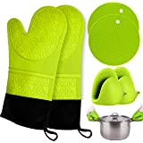 Oven Mitts and Pot Holder- Extra Long Silicone Oven Mitt Heat Resistant with 2 trivets & Mini Pinch Oven Mitts-Food Safe…