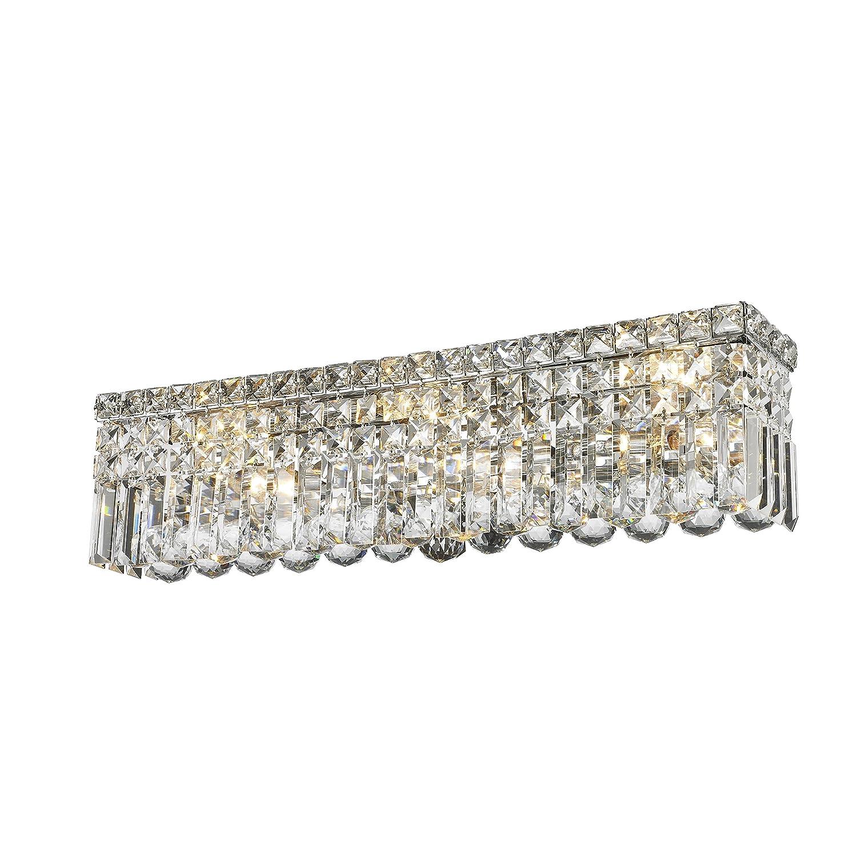 "Worldwide Lighting W23531C24 Cascade 6 Light Crystal Vanity Light, Chrome Finish, ADA Compliant, 24"" Wide"