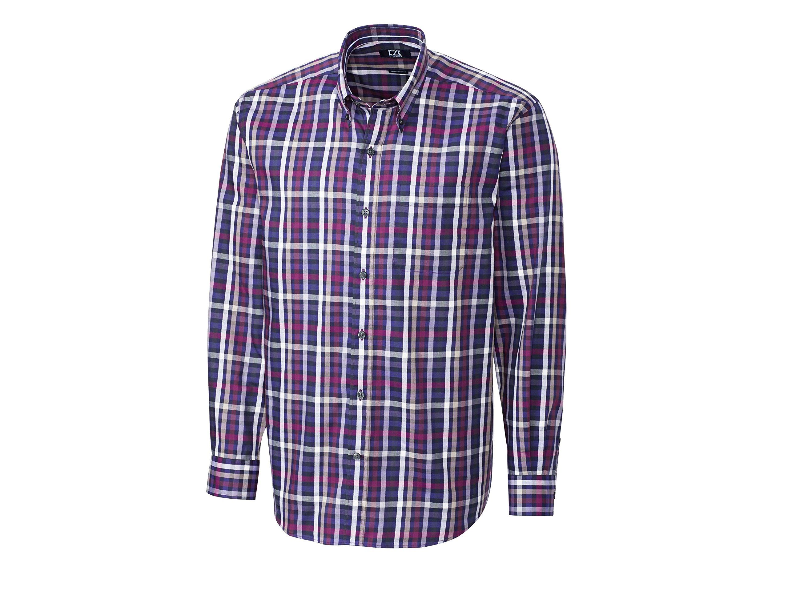 Cutter & Buck Men's Big-Tall Long Sleeve Hill Climb Plaid Woven Shirt, Multi, 2X/Big