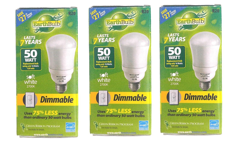 Set of 3 Earth Bulb Brand Dimmable CFL Soft White 2700K 670 Lumens 50 Watts Light Bulbs