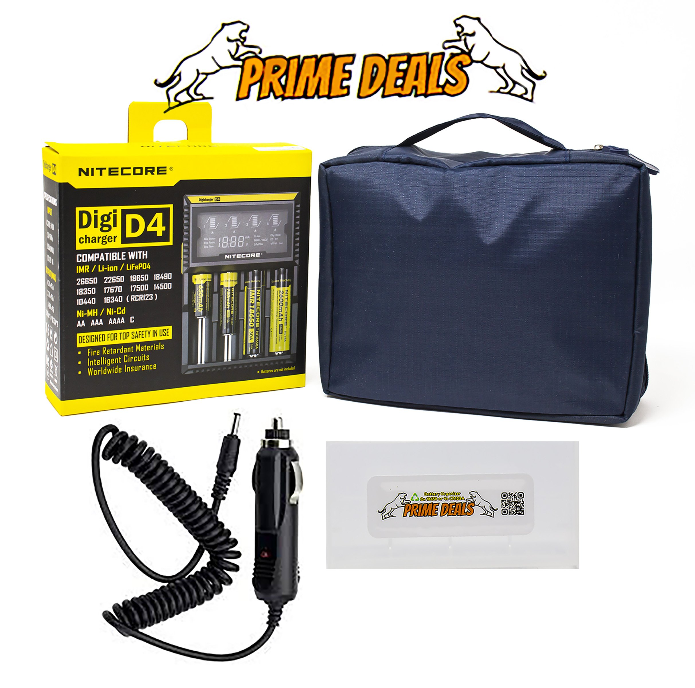NiteCore D4 charger integrated LCD panel display for Li-Ion Ni-MH Ni-Cd Batteries with PRIMEDEALS Car Adapter and PRIMEDEALS Battery Organizer + BONUS FREE PRIMEDEALS Travel Case by PrimeDeals