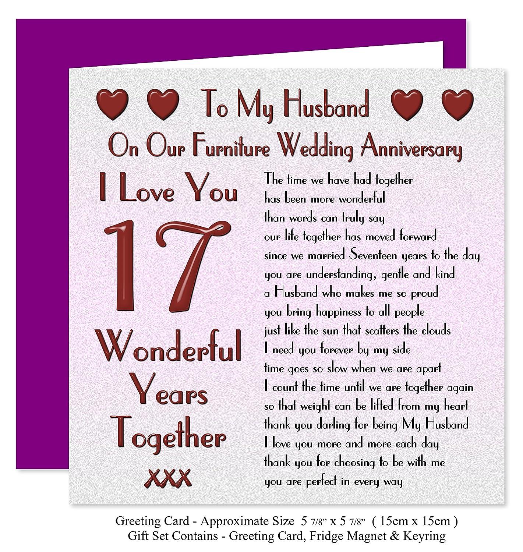 My Husband 17th Wedding Anniversary Gift Set Card Keyring