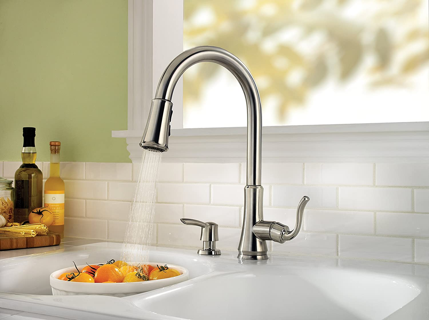 Pfister Cagney 1-Handle Pull-Down Kitchen Faucet with Soap Dispenser,  Stainless Steel - Touch On Kitchen Sink Faucets - Amazon.com